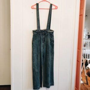 Pants - Wide Leg Suspender Jeans